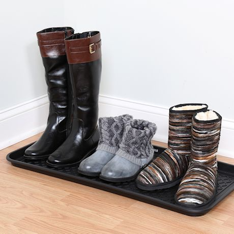 """Great Working Tools Boot Trays - Set of 2 Black All Weather Heavy Duty Shoe Trays, Dog Bowl or Cat Bowl Mats Trap Mud, Water and Pet Food Mess to Protect Floors - 30"""" x 15"""" x 1.2"""""""