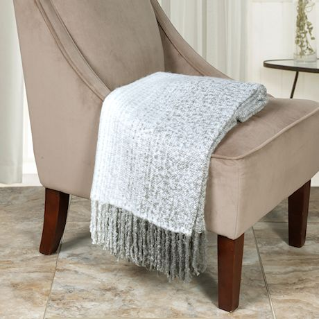"Home District Fringe Throw Blanket - Decorative Warm Acrylic Afghan - 50"" x 60"""