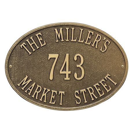 "Whitehall Personalized Address Plaque - Custom 3-Line Cast Aluminum Hawthorne House Number Wall Sign (14.25""W x 10.25""H)"