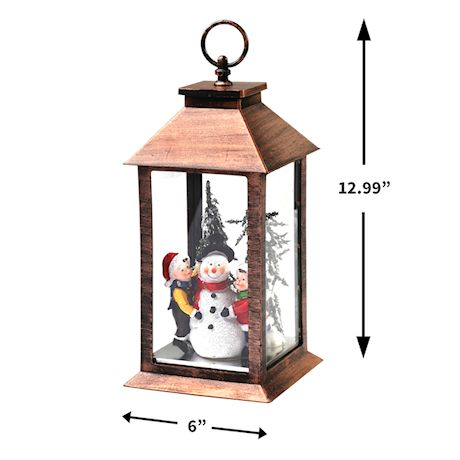 Darice Snowman and Children Holiday Lantern - Hanging Christmas LED Accent Light with Brushed Copper Color Finish