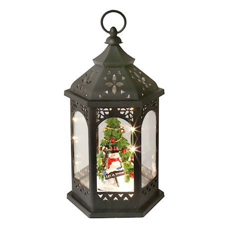 Darice Snowman Christmas Tree Lantern - Architectural Hanging Holiday LED Accent Light with Black Finish