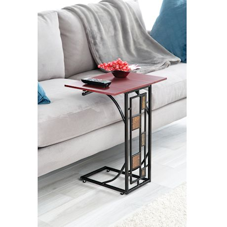 Etna Expandable Wood Top Sofa Side End Table - Metal Base With Geometric Design - C-Shaped TV Tray Slides Up To Couch, Chair, Recliner
