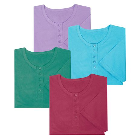 Women's Long Henley Nightshirts - Set of 4 - Missy Size Comfortable Pajama Sleep Shirts