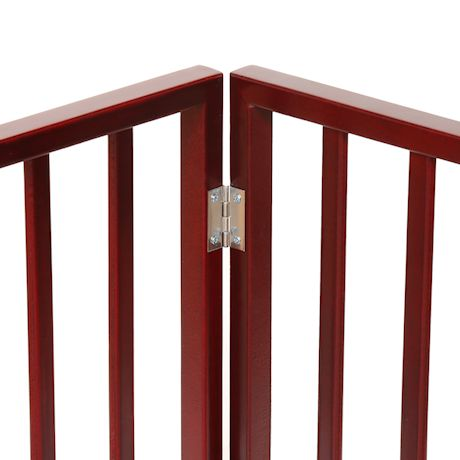 """Home District Freestanding Pet Gate, Solid Wood 3-Panel Tri-Fold Folding Dog Gate Dog Fence for Doorways Stairs Decorative Pet Barrier - Mahogany Traditional Slat, 54"""" x 24"""""""