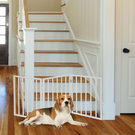 """Home District Freestanding Pet Gate, Solid Wood 3-Panel Tri-Fold Folding Dog Gate Dog Fence for Doorways Stairs Decorative Pet Barrier - White Traditional Slat, 54"""" x 24"""""""