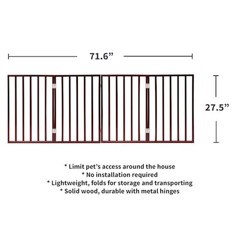 """Home District Freestanding Pet Gate, Solid Wood 3-Panel Tri-Fold Folding Dog Gate Dog Fence for Doorways Stairs Decorative Pet Barrier - Mahogany Traditional Slat, 71"""" x 27"""""""