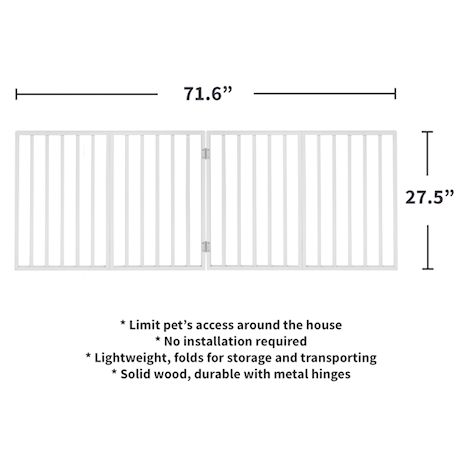 """Home District Freestanding Pet Gate, Solid Wood 3-Panel Tri-Fold Folding Dog Gate Dog Fence for Doorways Stairs Decorative Pet Barrier - White Traditional Slat, 71"""" x 27"""""""