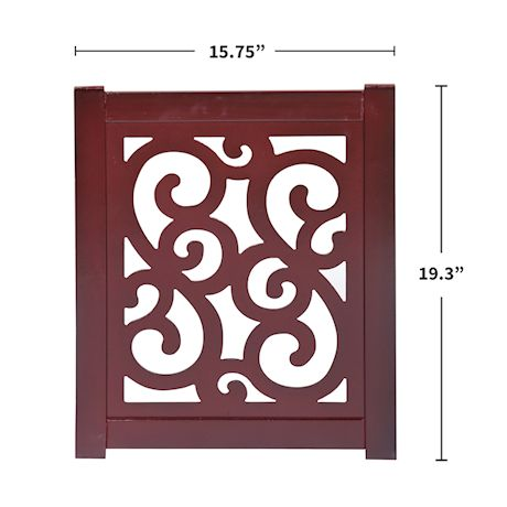 "Home District Freestanding Pet Gate, Solid Wood 3-Panel Tri-Fold Folding Dog Gate Dog Fence for Doorways Stairs Decorative Pet Barrier - Mahogany Scroll Design, 47"" x 19"""