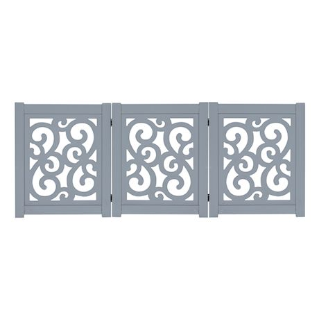 """Home District Freestanding Pet Gate, Solid Wood 3-Panel Tri-Fold Folding Dog Gate Dog Fence for Doorways Stairs Decorative Pet Barrier - Grey Scroll Design, 47"""" x 19"""""""