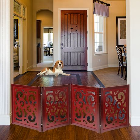 "Home District Freestanding Pet Gate, Solid Wood 3-Panel Tri-Fold Folding Dog Gate Dog Fence for Doorways Stairs Decorative Pet Barrier - Mahogany Scroll Design, 81"" x 27"""