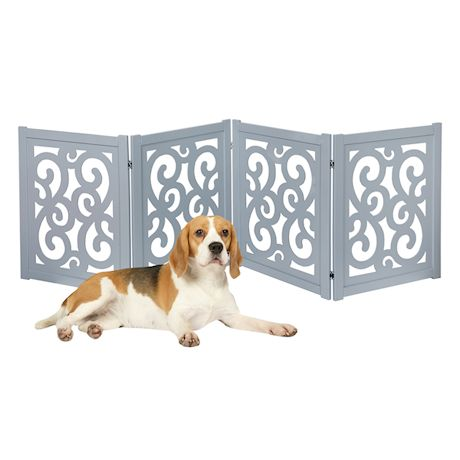 "Home District Freestanding Pet Gate, Solid Wood 3-Panel Tri-Fold Folding Dog Gate Dog Fence for Doorways Stairs Decorative Pet Barrier - Grey Scroll Design, 81"" x 27"""