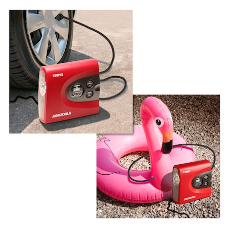 Great Working Tools 12V DC Portable Air Compressor Pump Digital Auto Tire Inflator Cars, SUV, Bikes with Emergency Light