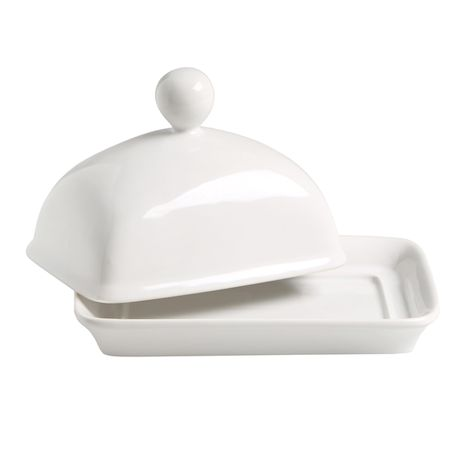 Home Essentials Covered Butter Dish - White Porcelain Butter Serving Plate with Lid