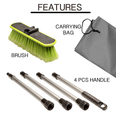 "Great Working Tools Car Wash Brush 10"" Dip Brush with Soft Bristles, Side Protector, Adjustable Extra Long 65"" Handle & Carry Bag for Auto Home RV SUV Boat Truck Cleaning"