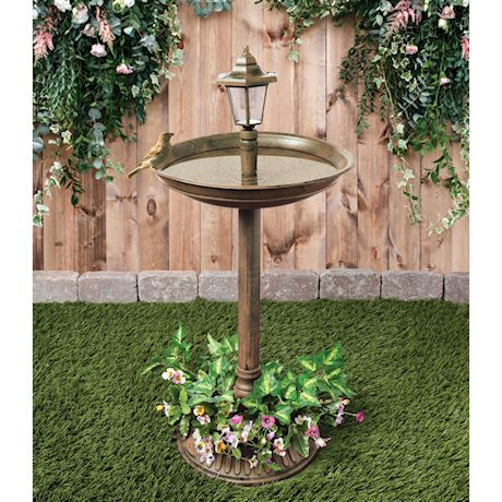 Art & Artifact Solar Lamp Post Bird Bath - Weather Resistant Outdoor Pedestal LED Light with Flower Planter - Lawn and Garden Accent