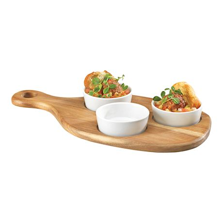 Home Essentials Tapas Serving Set - Acacia Wood Paddle Appetizer Tray with 3 Porcelain Bowls - White Ramekin Set