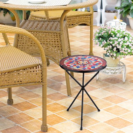 Folding Iron & Glass Rainbow Mosaic Side Table