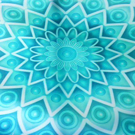 Folding Iron & Glass Aqua Mosaic Side Table