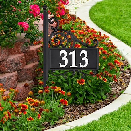 "Whitehall Reflective Address Post Sign - Nite Bright Acanthus Double-Sided Black House Number Plaque - Pole Adjusts 41"" to 60 1/2"" Tall"