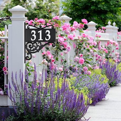 """Whitehall Reflective Address Post Sign - Nite Bright Acanthus Double-Sided Black House Number Plaque - Pole Adjusts 41"""" to 60 1/2"""" Tall"""