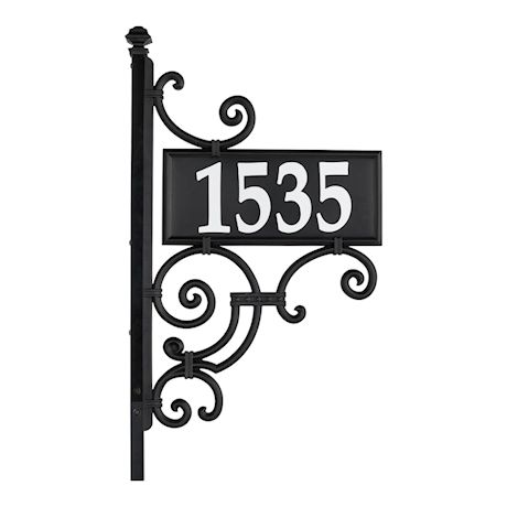 "Whitehall Reflective Address Post Sign - Nite Bright Ironwork Double-Sided Black House Number Plaque - Pole Adjusts 41"" to 60 1/2"" Tall"