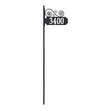 """Whitehall Reflective Address Post Sign - Nite Bright Scroll Double-Sided Black House Number Plaque - Pole Adjusts 41"""" to 60 1/2"""" Tall"""