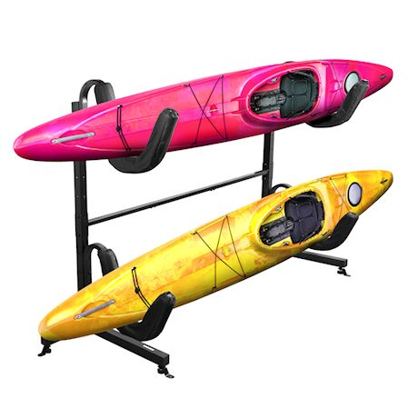Great Working Tools Kayak Rack Double Kayak Stand, Holds 2 Kayaks or Paddleboards (max wt 175 lbs), Heavy Duty Black Metal Frame with Padded Arms, Freestanding or Floor/Deck Mount Storage