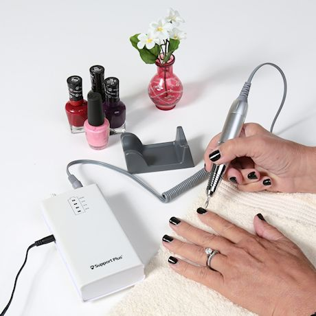 Support Plus Manicure Pedicure Set - Portable Rechargeable Electric Nail Drill System with 12 PC Attachments, LED Light, Storage Case, Polishing Acrylic Gel Fingernail, Toenail Care at Salon or Home