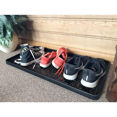"""Art & Artifact Hello Goodbye Foreign Languarges Boot Tray Shoe Tray - Large Rubber Floor Protector - 32"""" x 16"""""""