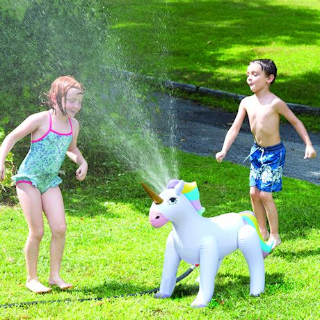 """Etna Inflatable Unicorn Sprinkler - Fun Outdoor Water Toy For Kids Attaches to Garden Hose, 33 1/2"""" High"""
