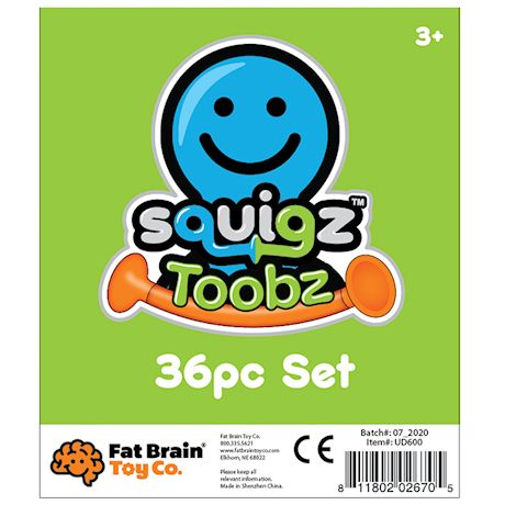 Fat Brain Squigz Toobz Set - 36 Piece Suction Toy Building Set, BPA Free Silicone