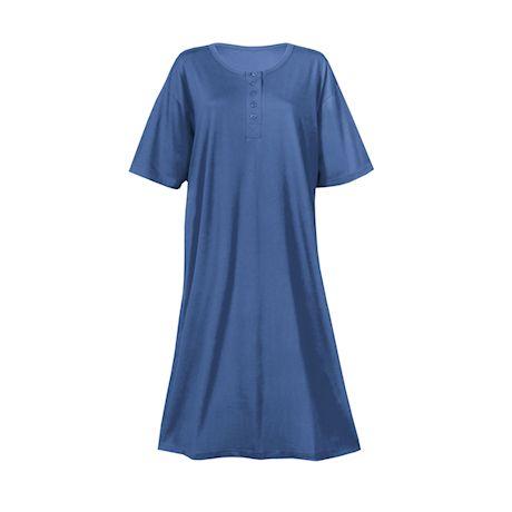 Metropolitan Womens 2-Pack Henley Nightshirts - Missy Pajama Shirt, Blue/Fuchsia