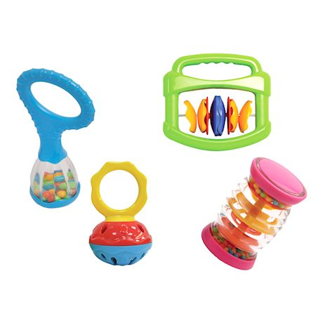 Edushape Baby Toy Musical Instrument Set - 2 Pack Baby Maracas and 4 Piece Music Shakers, BPA-Free Toddler Sensory Rattles, Halilit Musical Toys