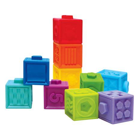 Edushape Baby Blocks & Sensory Ball Set - 10 Colorful 3D Interlocking Stacking Blocks and 6 Textured Tactile Balls, BPA Free Soft Activity Baby Toys
