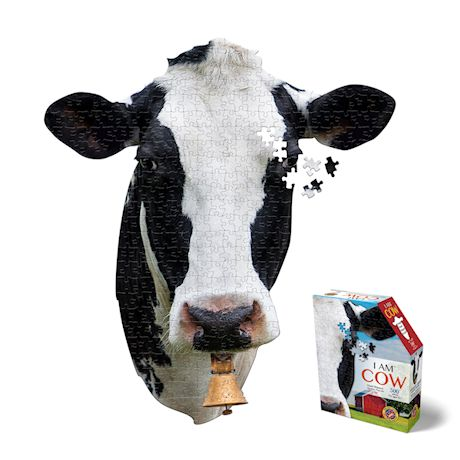 Madd Capp I Am Cow Shaped Jigsaw Puzzle - 300 Piece Animal Head Puzzle - Educational Family Fun