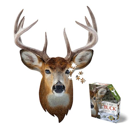 Madd Capp I Am Buck Shaped Jigsaw Puzzle - 300 Piece Animal Head Puzzle - Educational Family Fun