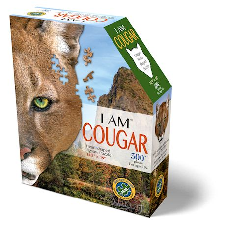Madd Capp I Am Cougar Jigsaw Puzzle - 300 Piece Animal Head Puzzle - Educational Family Fun