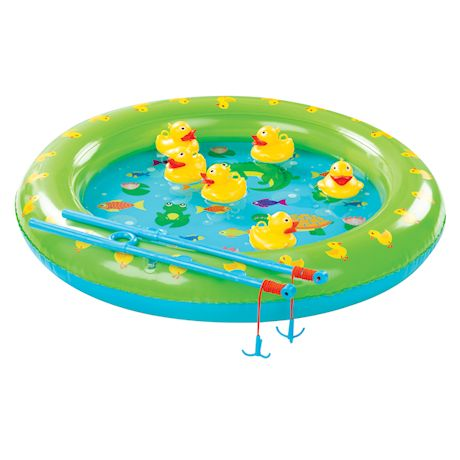 Etna Inflatable Duck Fishing Pond - Indoor/Outdoor Water Toy Party Game, Includes 2 Fishing Poles and 6 Floating Ducks