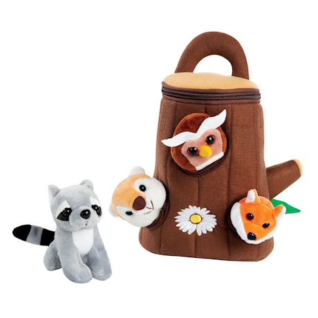 ETNA Forest Friends Plush Talking Stuffed Animals Set, Plush Toy Set for Kids Babies Toddlers, 5 Piece Set Baby Stuffed Animals includes Tree Carrier, Owl, Squirrel, Raccoon & Fox with Animal Noises