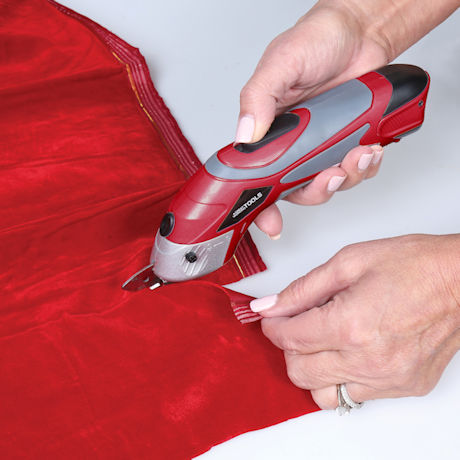 Great Working Tools Cordless Power Electric Scissors - 2 Blades for Sewing Crafting Fabric Paper Cardboard, 3.6v Li-Ion Battery, Red