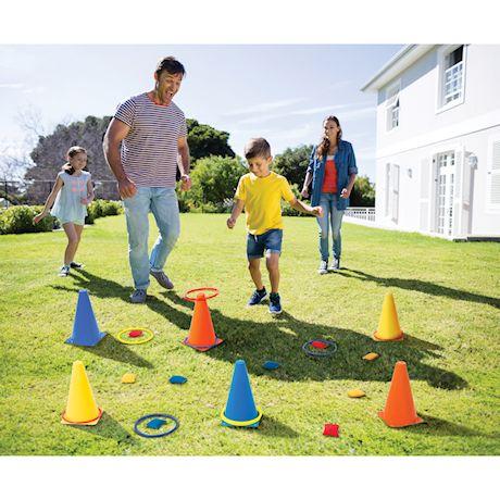 ETNA Backyard Carnival Game Set, Children's Indoor Outdoor Toy, Ring Toss Bean Bag Toss & Cones 24-piece Set