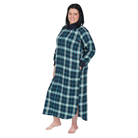 Metropolitan Manufacturing Womens Flannel Lounger - Long Plaid Night Gown