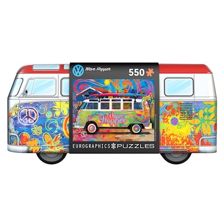 Eurographics VW Wave Hopper 550 Piece Jigsaw Puzzle - Officially Licensed Volkswagen Bus Puzzle in Collectible Storage Tin, Includes Matching Poster