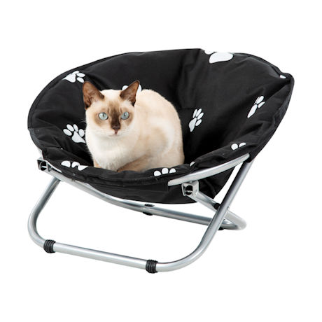 Folding Pet Cot Chair - Elevated Cat Bed, Paw Print Papsan Chair for Small Dogs