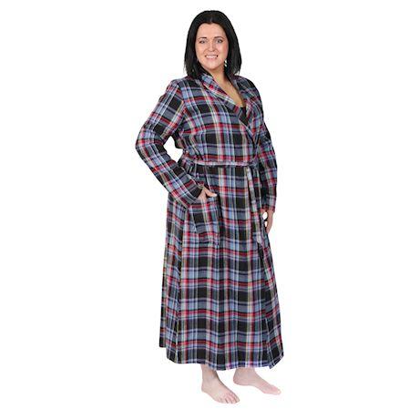 Metropolitan Womens Plaid Flannel Robe - Lightweight Shawl Collar Bathrobe