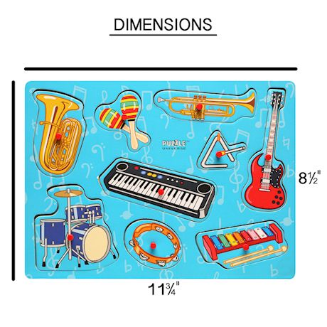 Puzzle Universe Wooden Peg Puzzles - Set of 3 Series 1 Wood Puzzles Musical Instruments, Trucks, Dinosaurs - Educational Toys for Kids 18 Months and Up