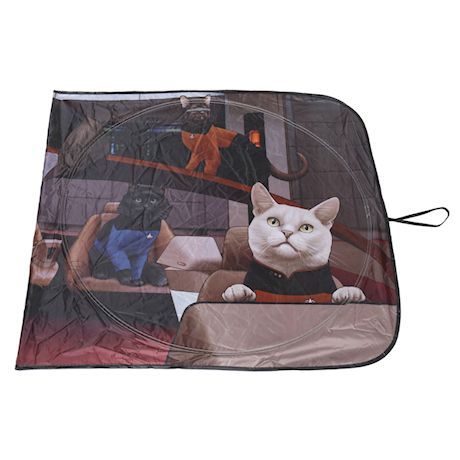 Surreal Star Trek Cats Sunshade - The Next Generation Funny Car Windshield Sun Shade Screen Cools Vehicle Interior