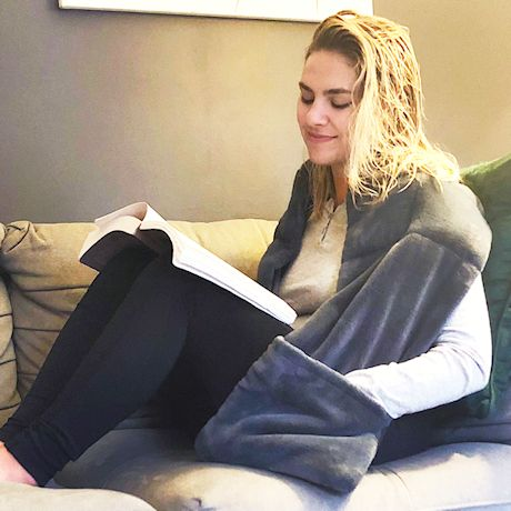 Support Plus Weighted Shoulder Wrap - Therapeutic Glass Bead Filled Plush Reading Scarf with Pockets, 4 Lbs.