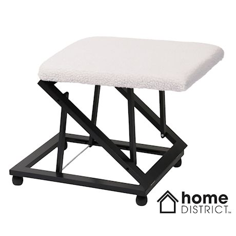 Home District Folding Foot Rest - Wood Rolling Collapsible Cushioned Foot Stool Ottoman for Home or Office, Fleece Top Cover