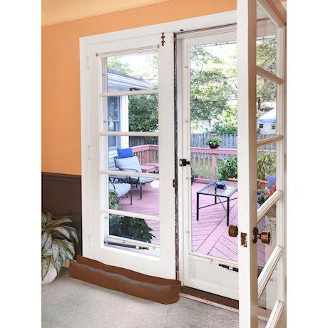 Home District French Door Draft Dodger - Weighted Door and Window Breeze Guard, Noise Blocker, Bug Stopper